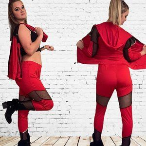 Red 2 PC Track Suit w Mesh Inserts Pants Hoodie